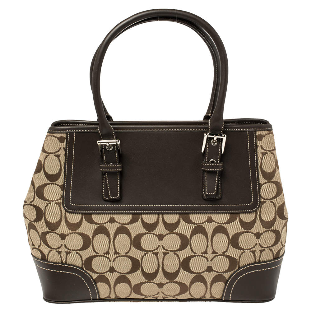 Coach Brown Signature Canvas and Leather Hampton Tote