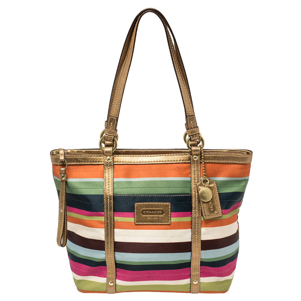 Coach Multicolour Satin and Leather Striped Legacy Tote