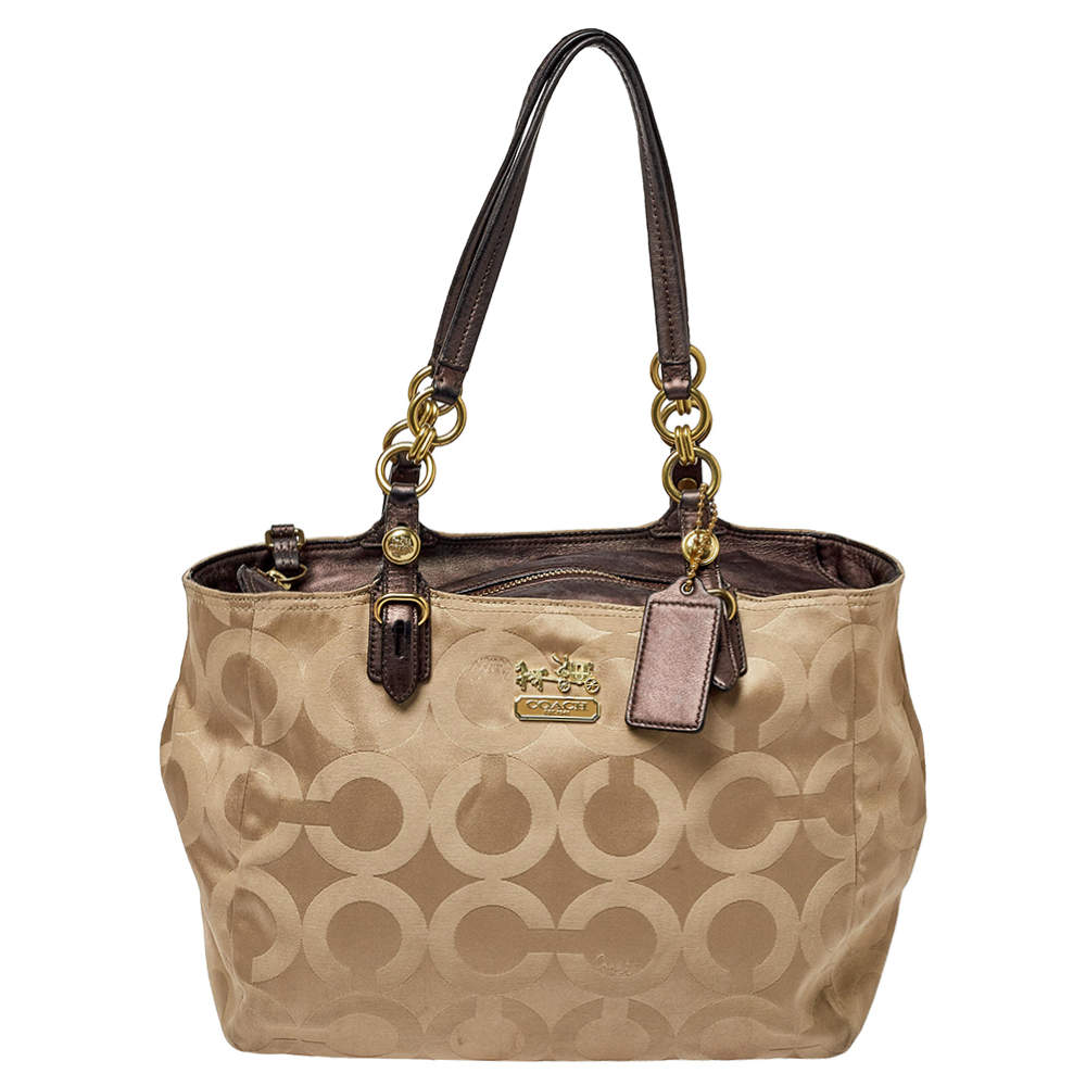 Coach Beige Signature Fabric And Leather Satchel