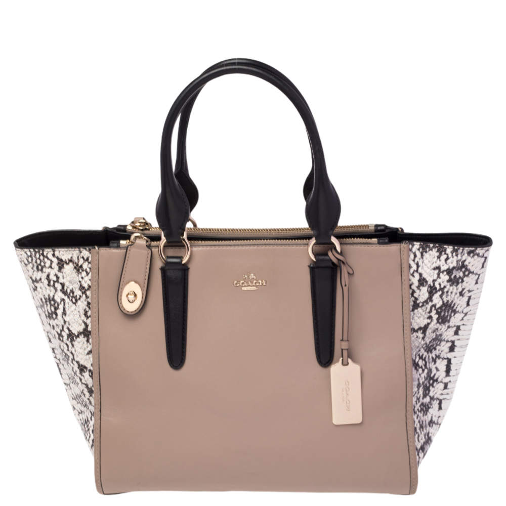 Coach Beige/Black Leather and Python Embossed Leather Double Zip Crosby Carryall Tote