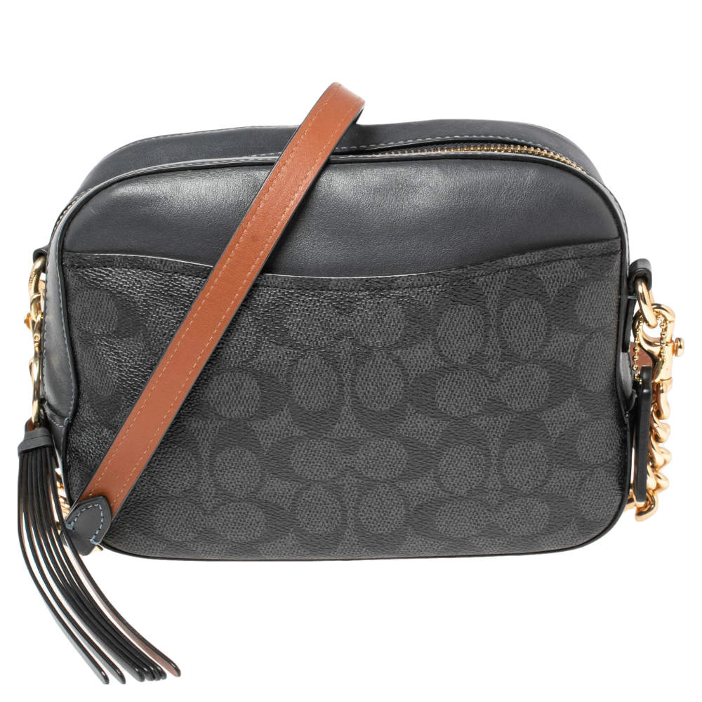 Coach Charcoal Grey Signature PVC and Leather Camera Bag