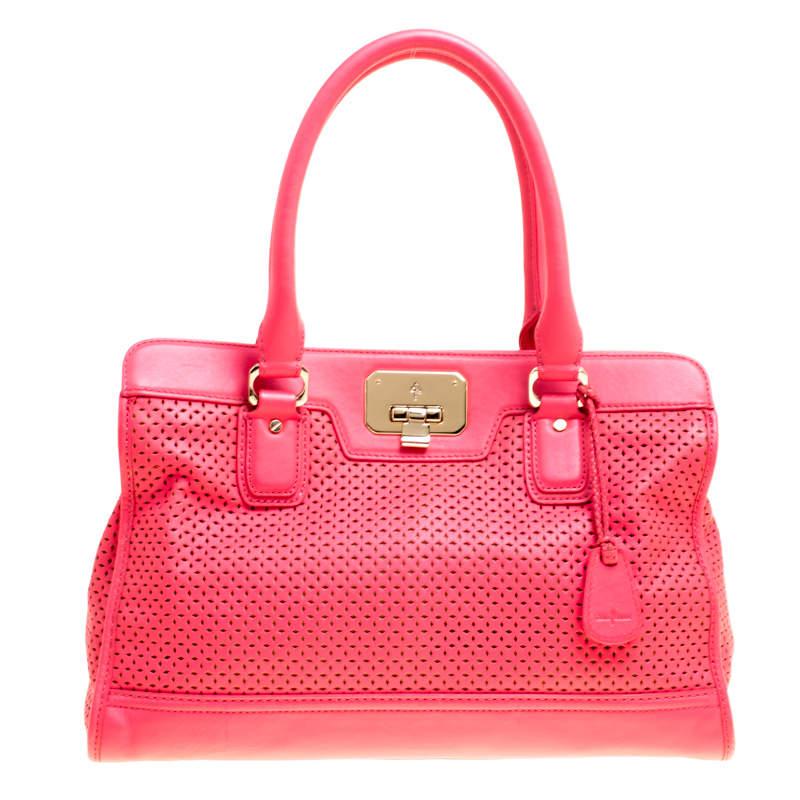 Cole Haan Pink Laser Cut Leather Vintage Valise Novelty Kendra Tote