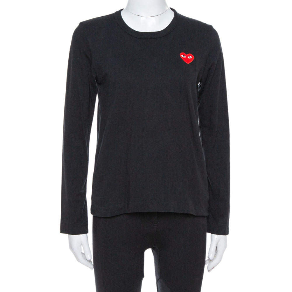 Comme des Garçons Play Black Cotton Jersey Long Sleeve T-Shirt M