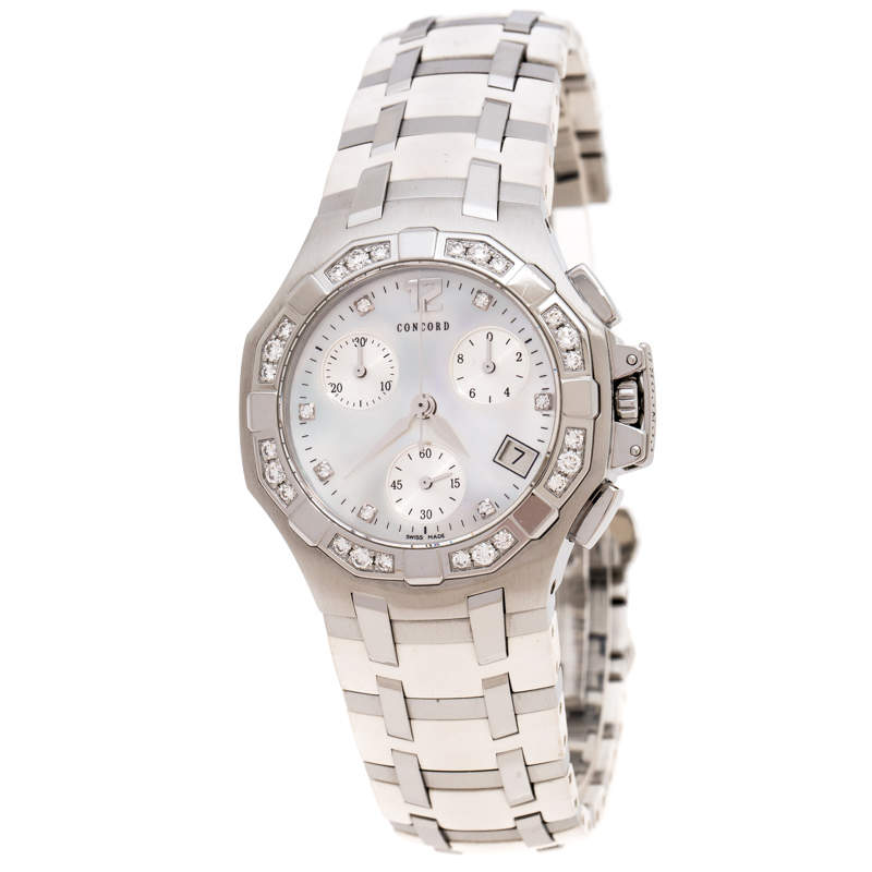 Concord White Mother of Pearl Stainless Steel Diamonds Saratoga 14.H1.1881S Women's Wristwatch 33 mm