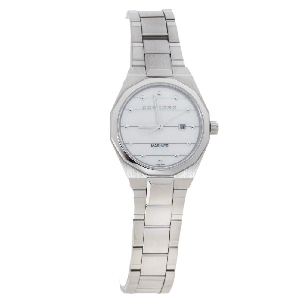 Concord White Mother Of Pearl Stainless Steel Mariner 05.3.14.1097 Women's Wristwatch 30 mm