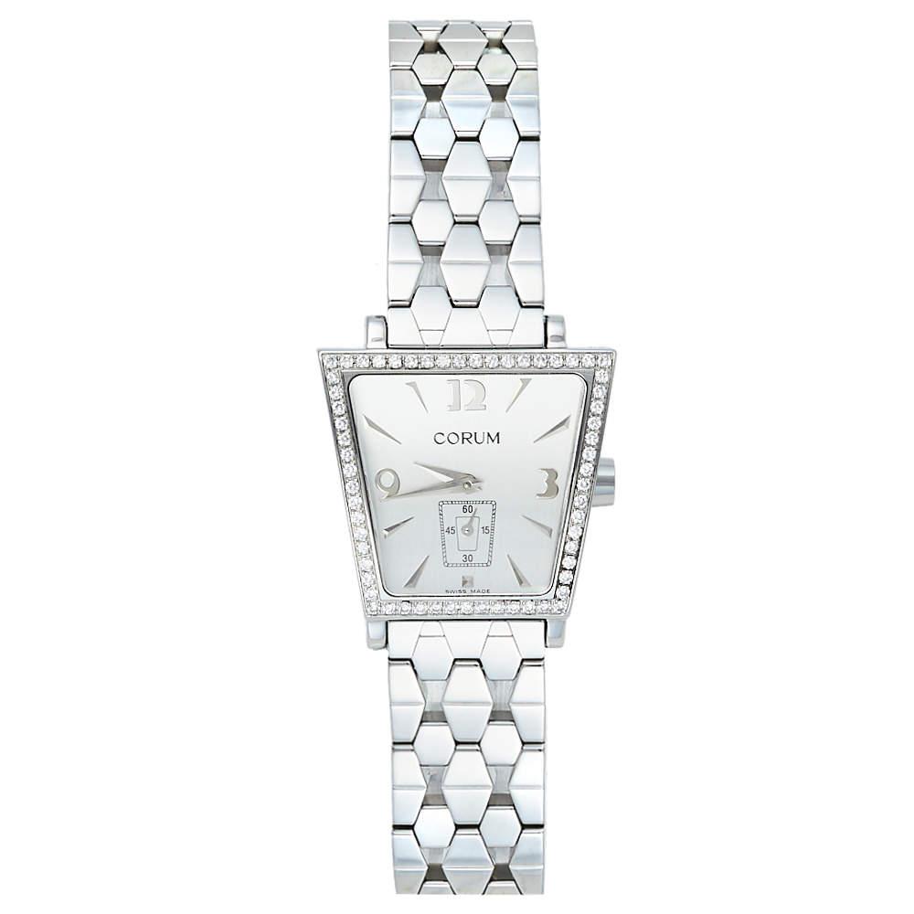 Corum Silver Stainless Steel Diamonds Trapeze 105.404.47 Women's Wristwatch 28 mm