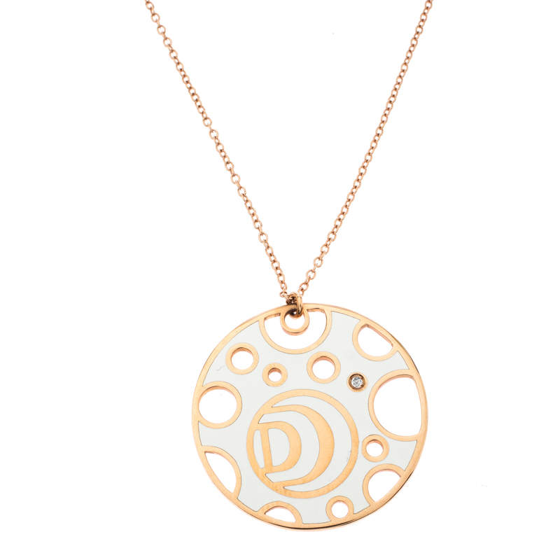 Damiani Damianissima Diamond Ceramic Double Face 18k Rose Gold Pendant Necklace
