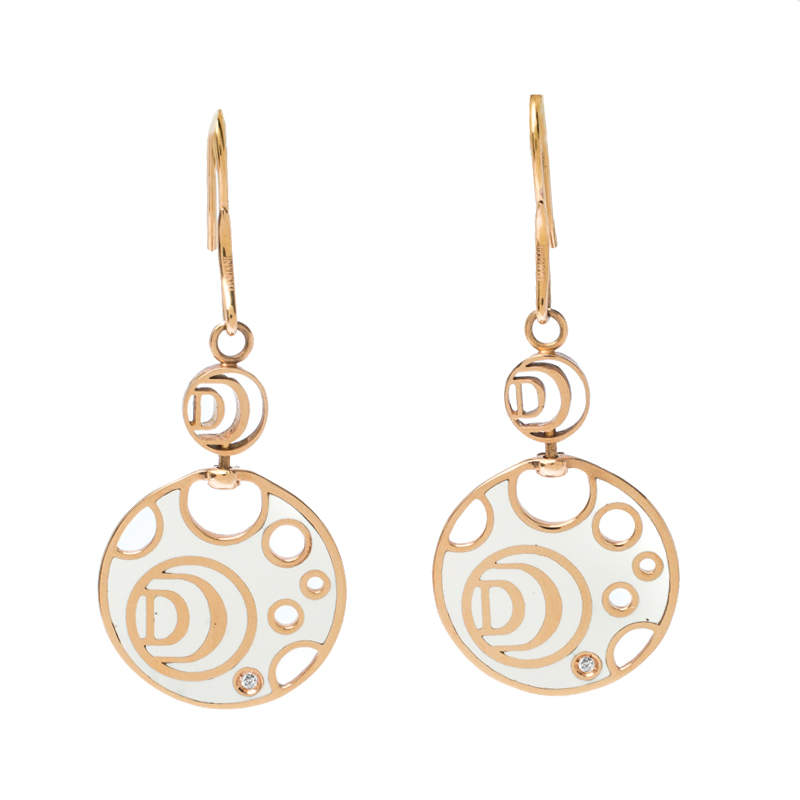 Damiani Damianissima Diamond Ceramic Double Face 18k Rose Gold Dangle Hook Earrings