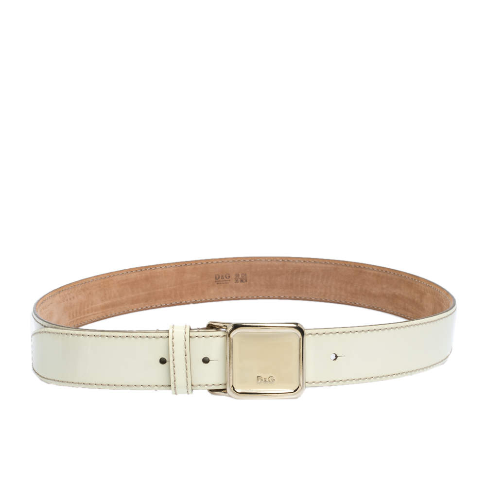 D&G Ivory Patent Leather Square Logo Buckle Belt 90CM