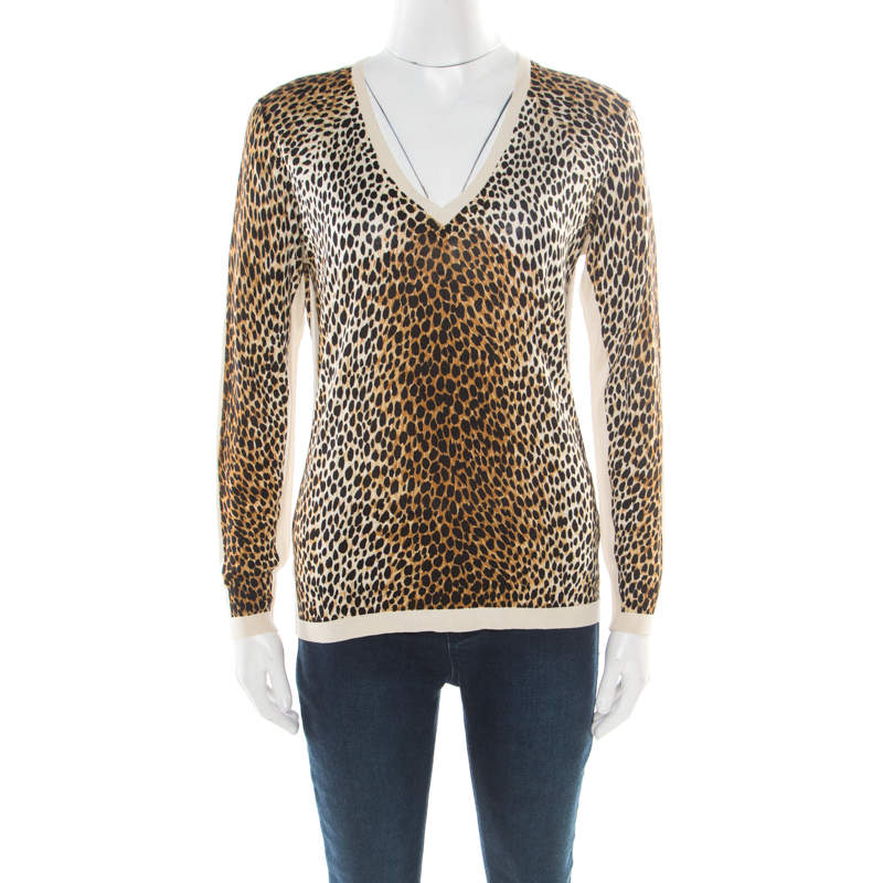 D&G Multicolor Animal Printed Silk Jersey V-Neck Sweater M