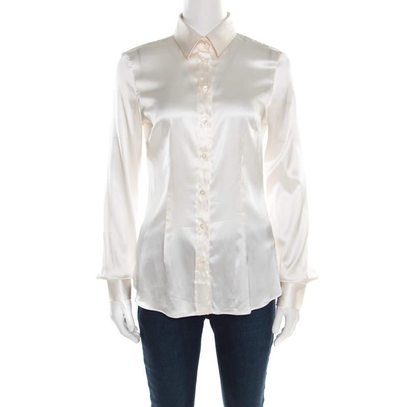 D&G Off White Satin Long Sleeve Shirt S