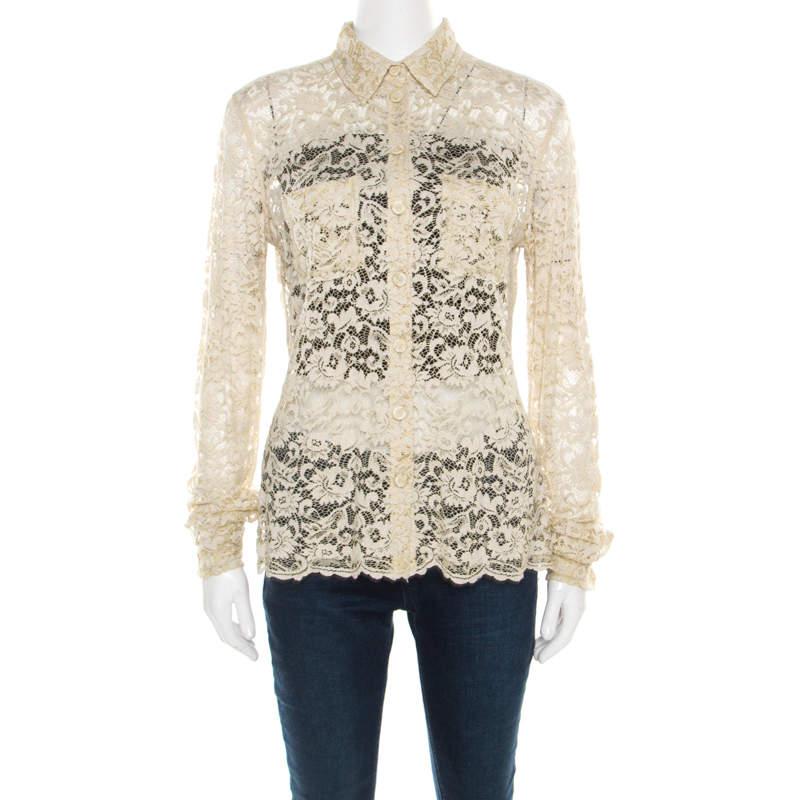 D&G Beige Floral Lace Long Sleeve Blouse S