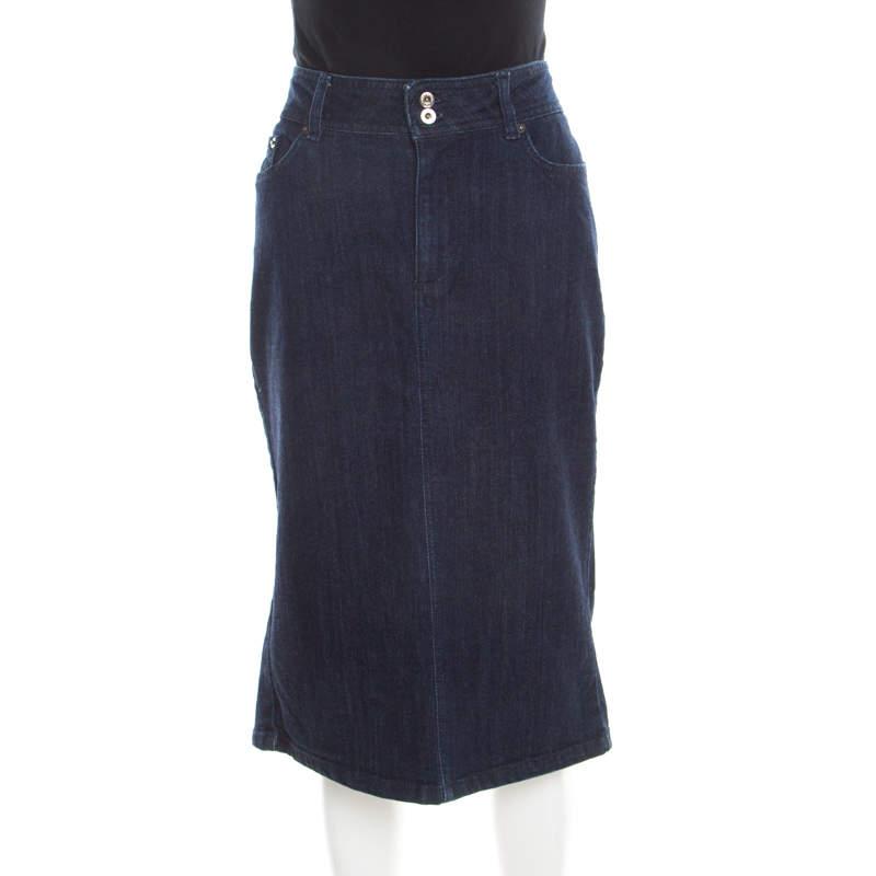 D&G Indigo Dark Wash Denim Midi Skirt L