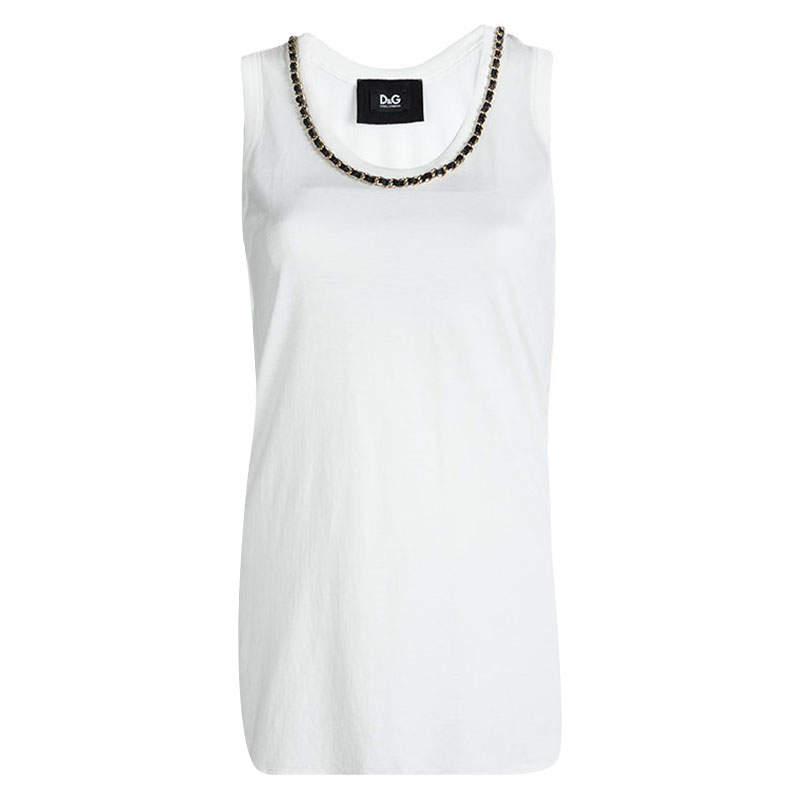 D&G White Cotton Chain Detailed Sleeveless Top M