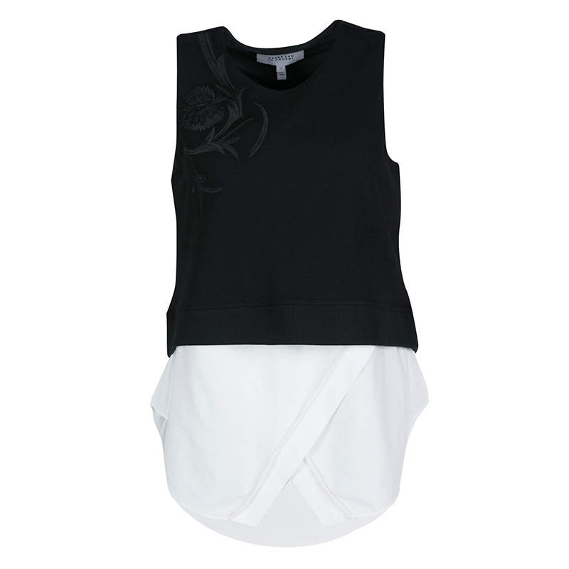Derek Lam Monochrome Embroidered Ribbed Knit Sleeveless Layered Top S