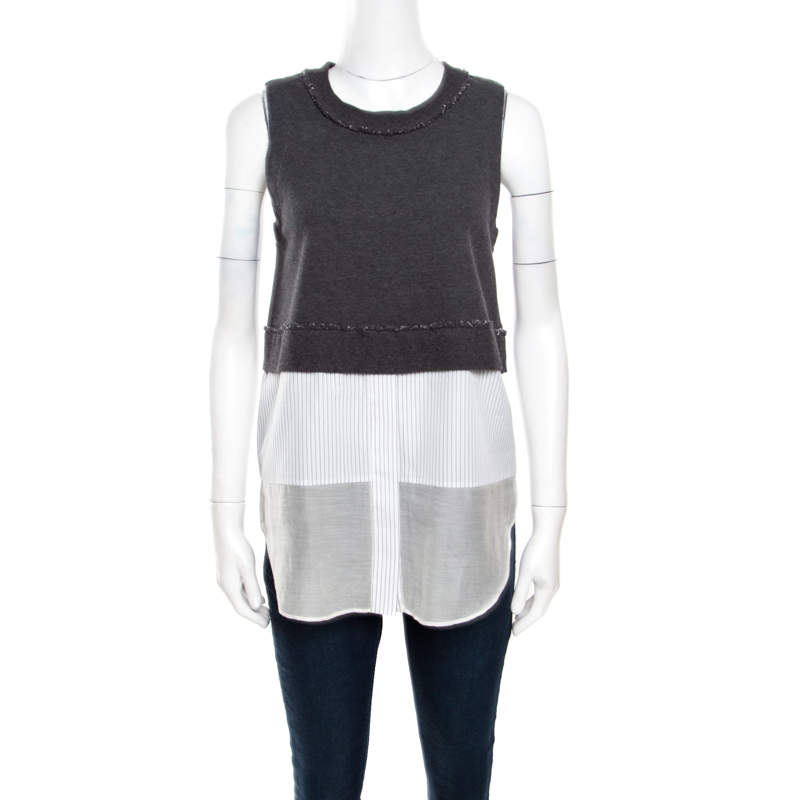 10 Crosby Derek Lam Grey and White Knit Striped Layered Sleeveless Blouse S