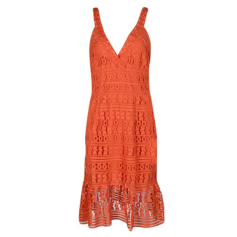 Diane Von Furstenberg Orange Guipure Lace Sleeveless Tiana Flounce Dress M