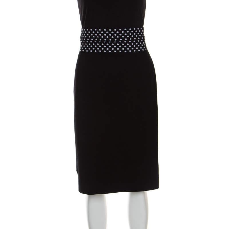 Diane Von Furstenberg Black Dotted Wasitband Detail Elsa Skirt M