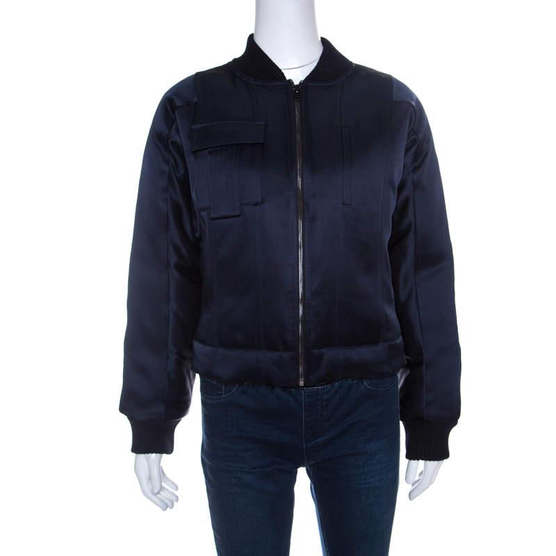 Diane Von Furstenberg Navy Blue Satin Alexander Bomber Jacket S