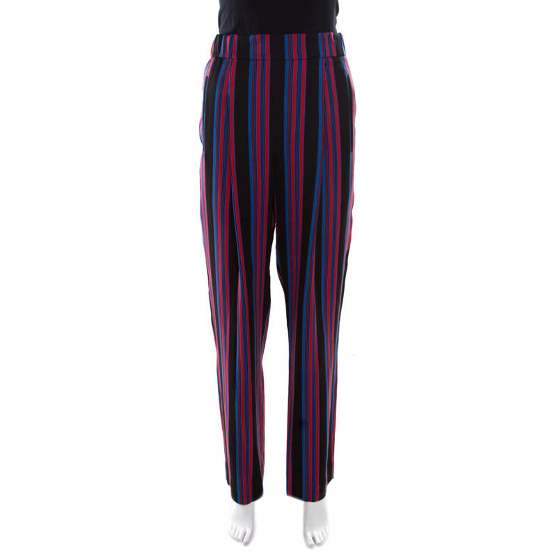 Diane Von Furstenberg Multicolor Striped Twill Elasticized Waist Soft Trousers M
