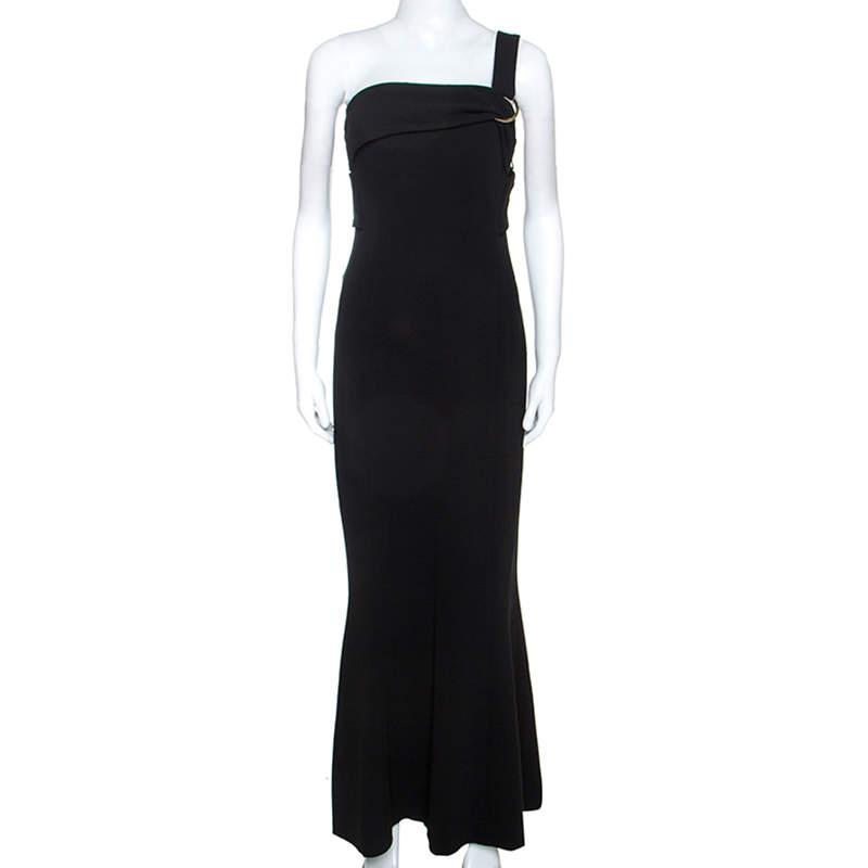 Diane Von Furstenberg Black Stretch One Shoulder Asymmetric Dress L