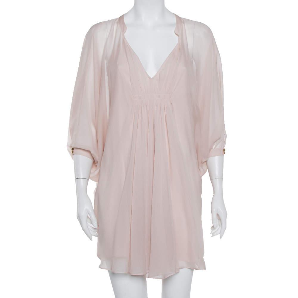 Diane Von Furstenberg Pale Pink Silk Fleurette Dress S