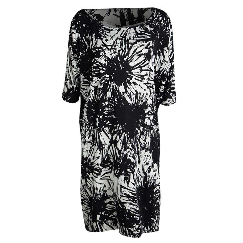 Diane Von Furstenberg Monochrome Printed Silk Jersey Dolman Sleeve Dress L