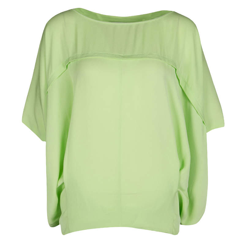 Diane Von Furstenberg Acid Green Silk Oversized Landy Blouse S