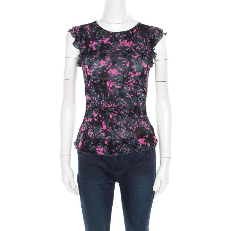 Diane Von Furstenberg Multicolor Printed Silk Knit Ruched Ruffle Trim Mendel Top XS