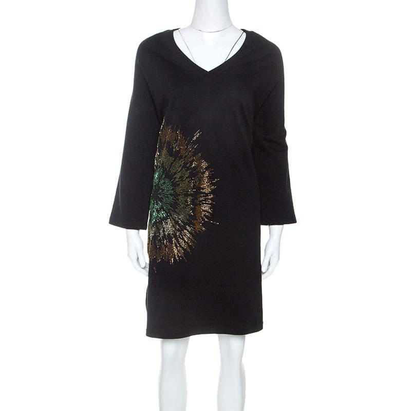 Dries Van Noten Black Jersey Embellished Sweatshirt Dress M