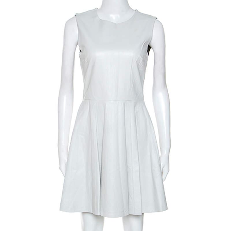 Diane Von Furstenberg White Jeannie Leather Fit And Flare Dress S