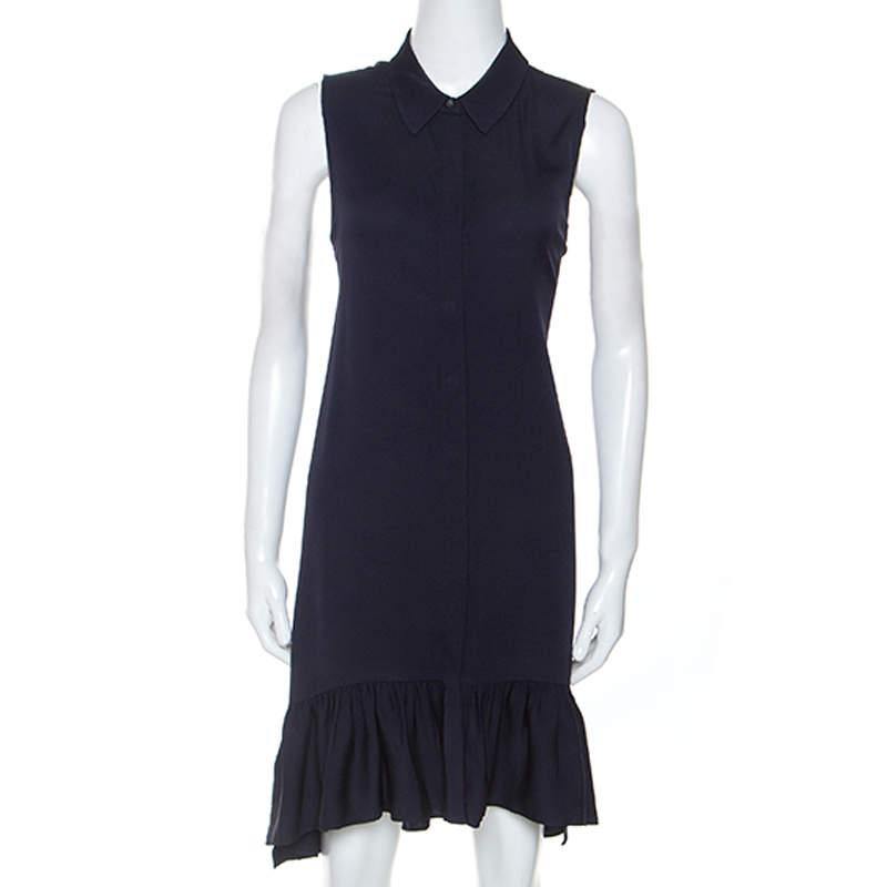 Diane Von Furstenberg Navy Blue Stretch Silk Lanzi Dress M