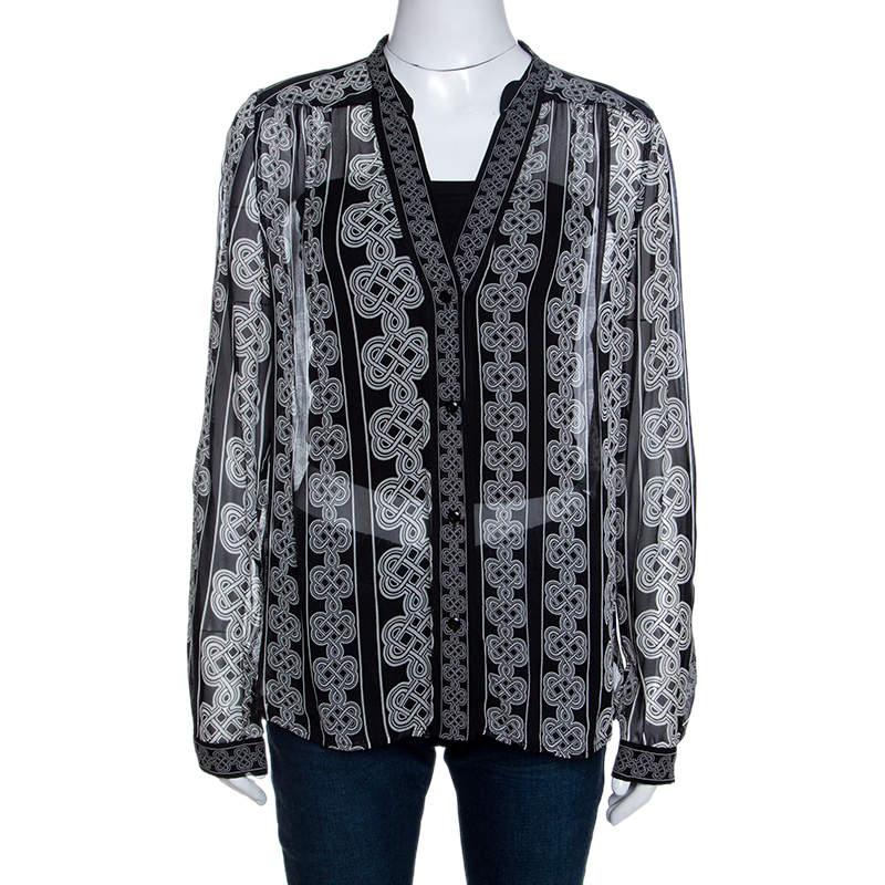 Diane Von Furstenberg Monochrome Knot Print Silk Harlow Blouse L