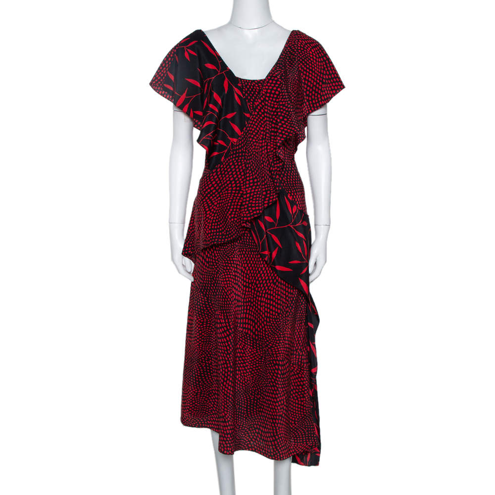 Diane Von Furstenberg Red Printed Silk Cross Over Ruffle Detail Midi Dress S