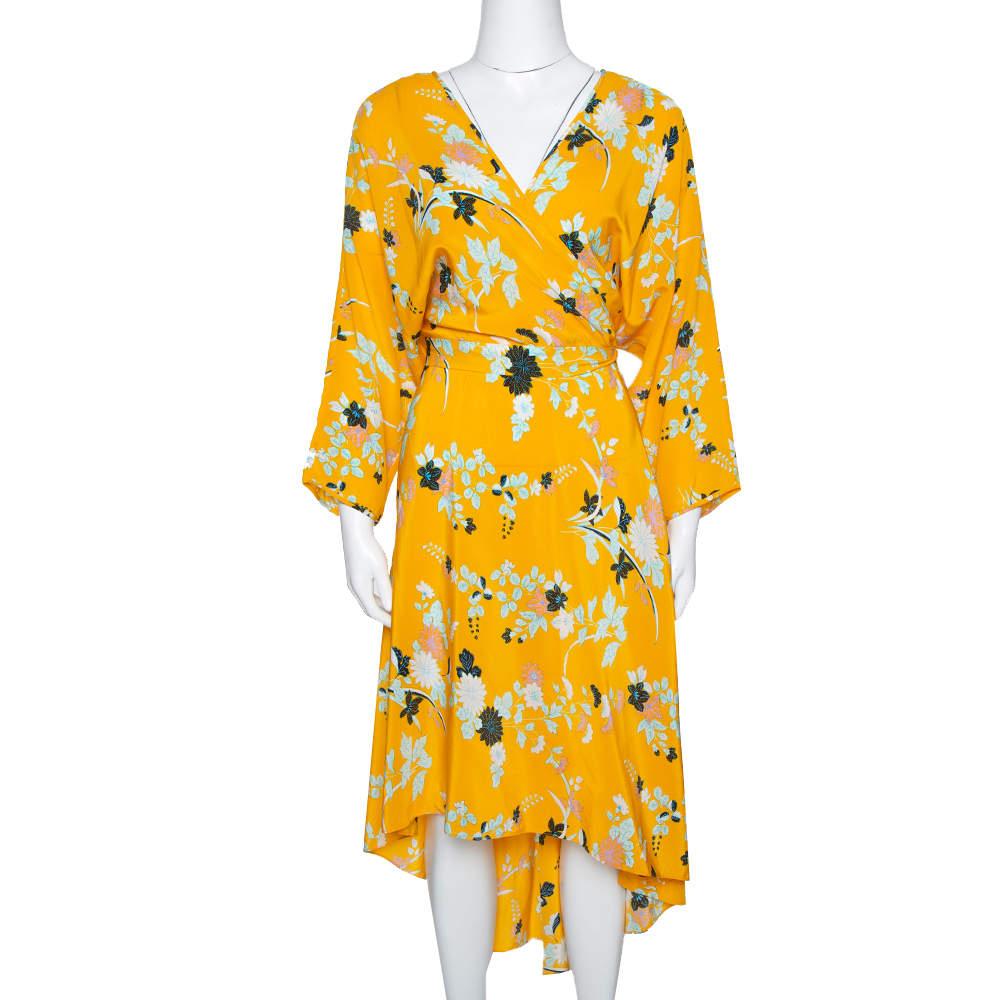 Diane von Furstenberg Yellow Floral Print Silk Eloise Wrap Dress M