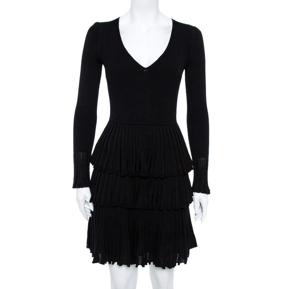 Diane von Furstenberg Black Tiered Plissé Knit Sharlynn Dress P
