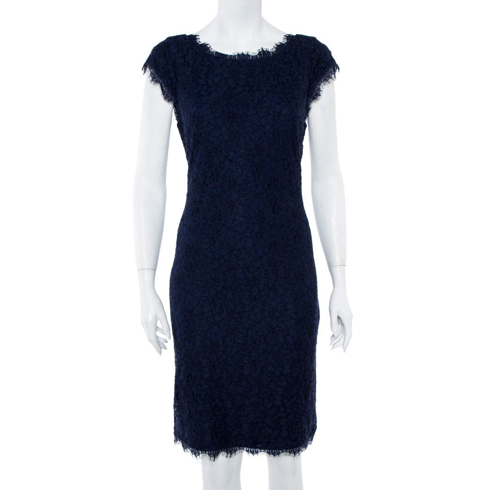 Diane Von Furstenberg  Navy Blue Lace Detail Dress L