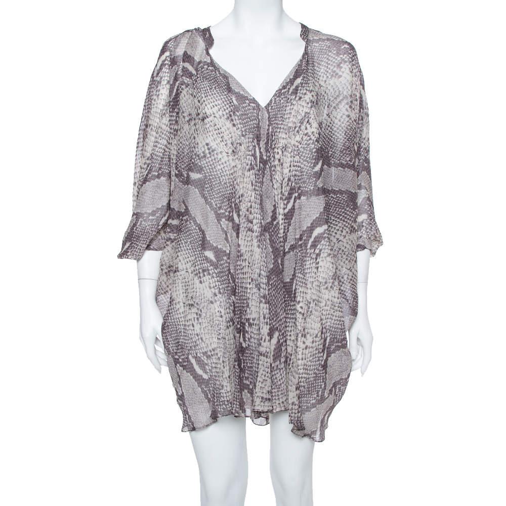Diane Von Furstenberg  Grey Snakeskin Printed Silk Draped Fleurette Dress XS