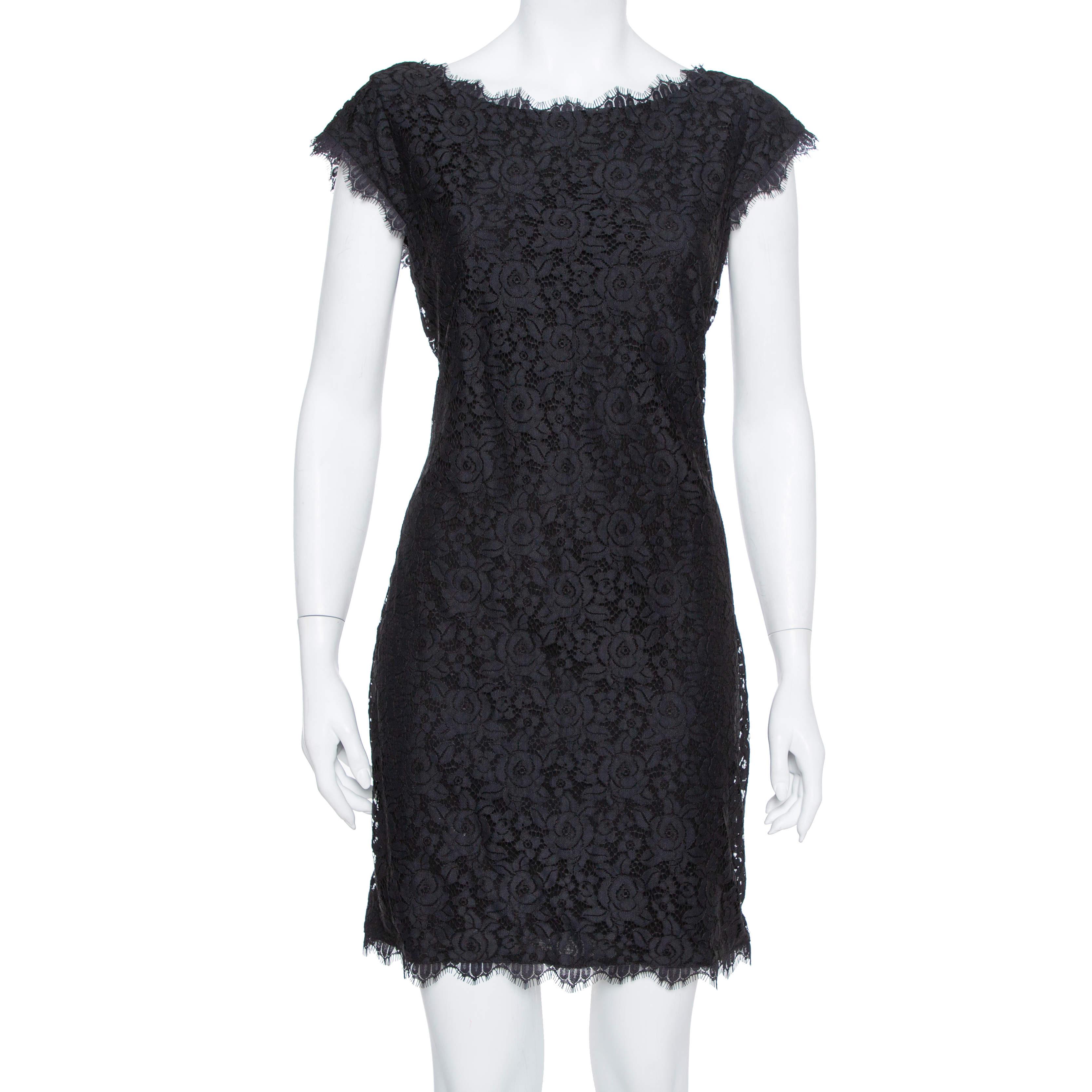 Diane Von Furstenberg Black Lace Barbara Shift Dress L