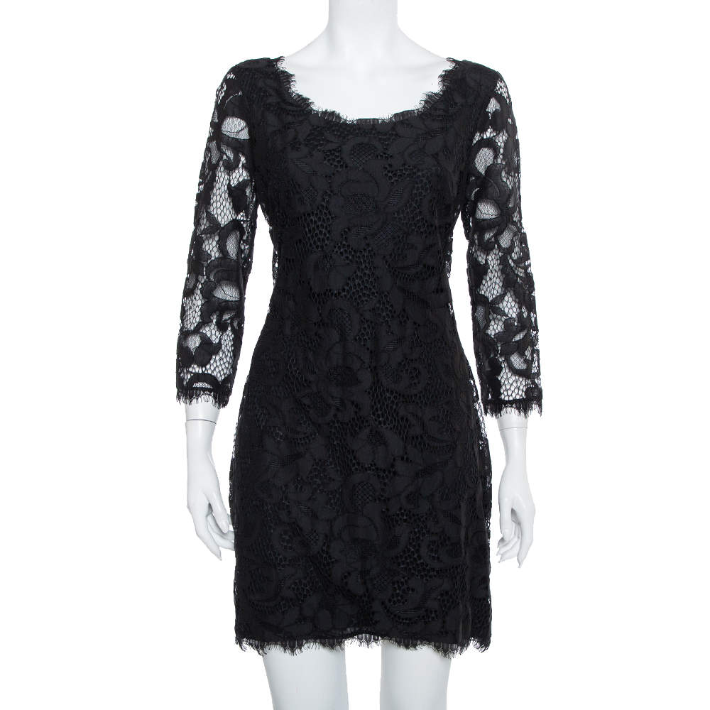 Diane Von Furstenberg Black Lace Zarita Scoop Dress L