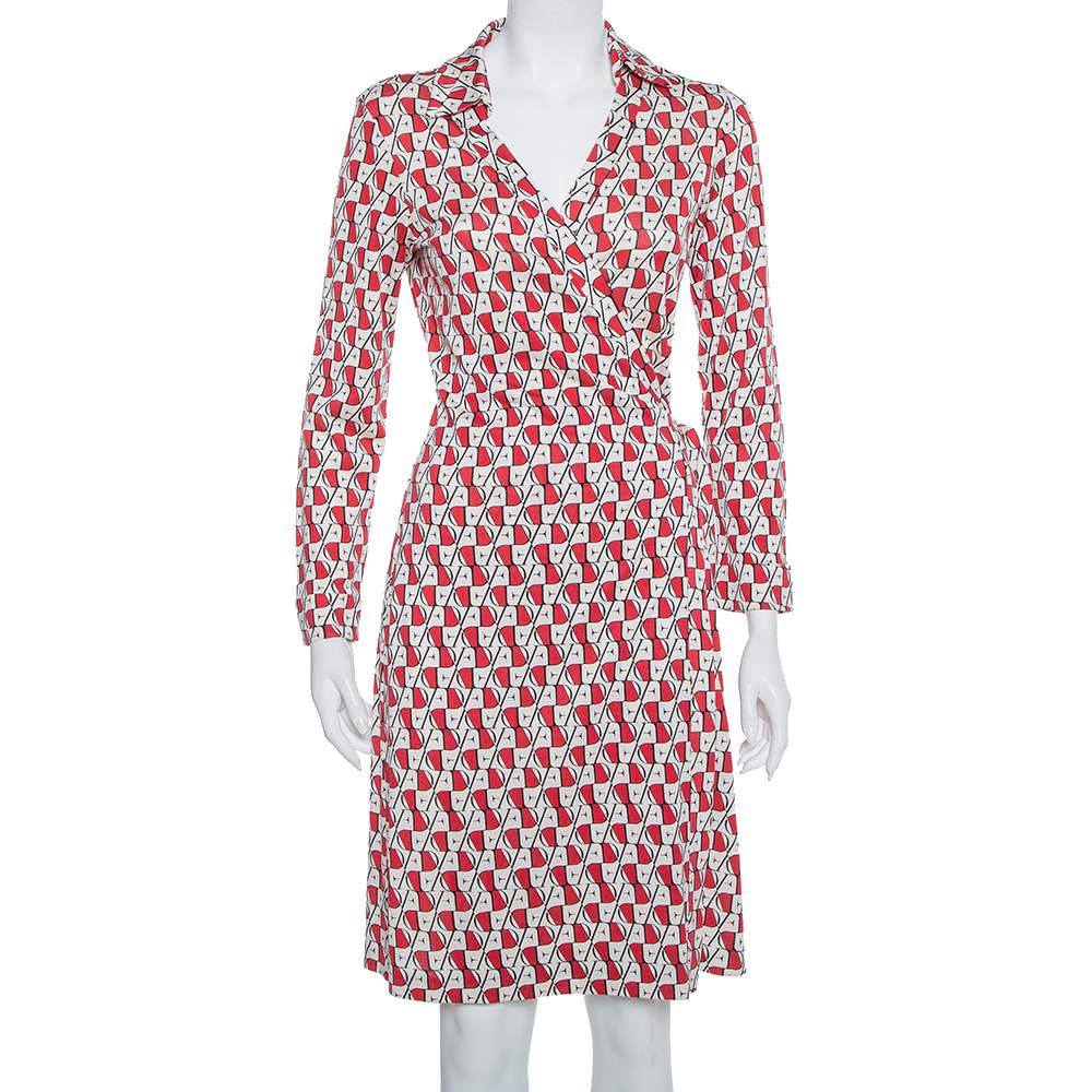 Diane Von Furstenberg Cream & Red Knit Logo Printed New Jeanne Wrap Dress L