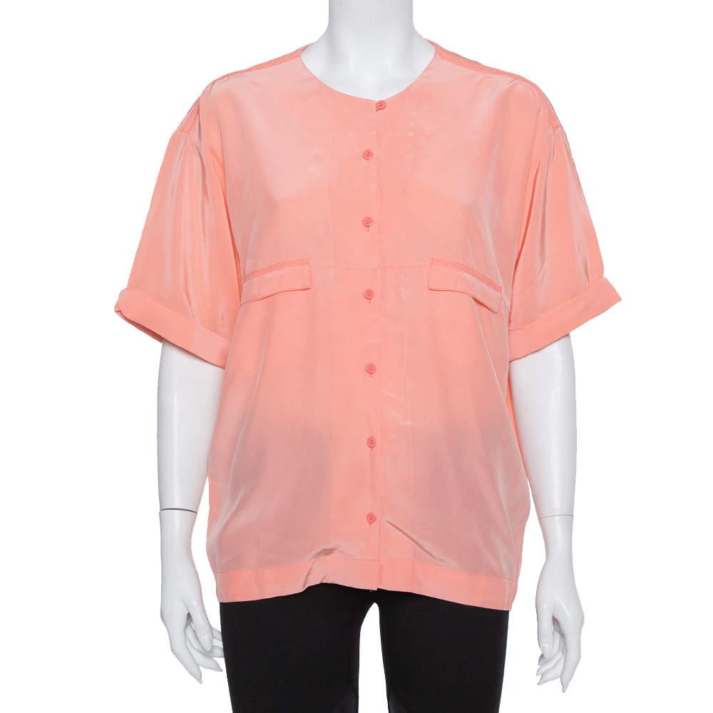 Diane Von Furstenberg Pink Silk Pocket Detail Oversized Dana Top S