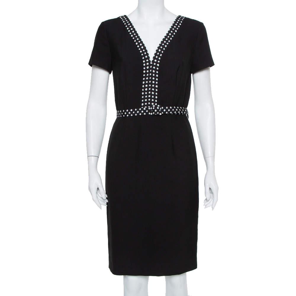 Diane Von Furstenberg Black Knit Contrast Trim Detail Belted Maisie Dress M