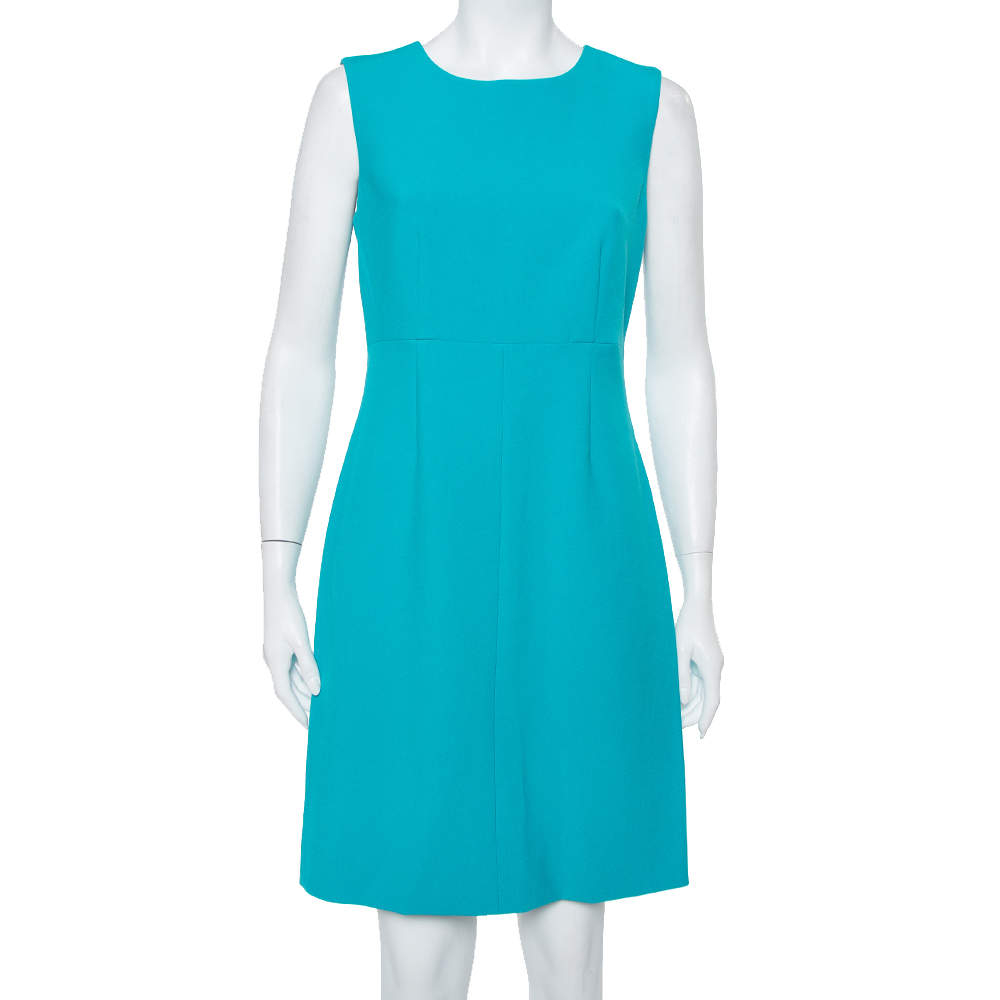 Diane Von Furstenberg Turquoise Blue Knit Sleeveless Sheath Carrie Dress M