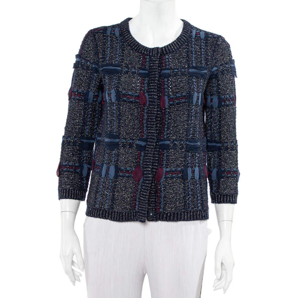 Diane Von Furstenberg Navy Blue Lurex Knit Button Font Hurleigh Cardigan S