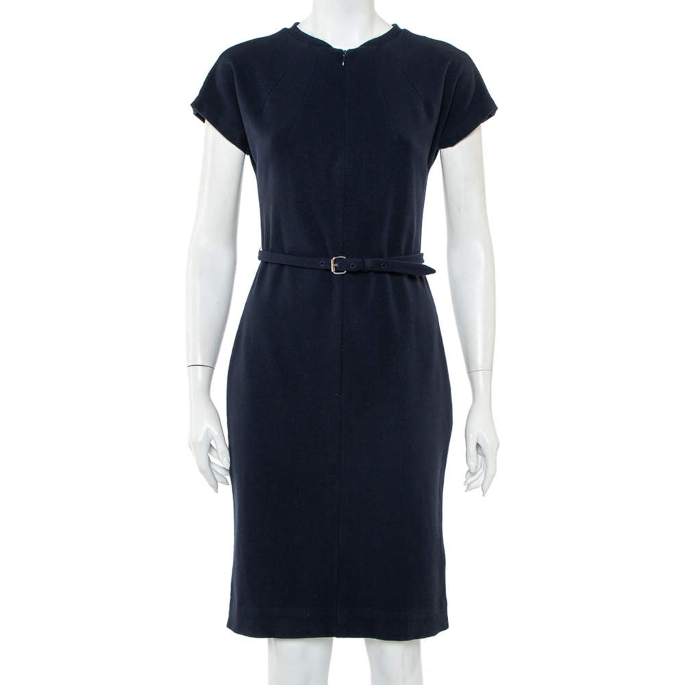 Diane von Furstenberg Navy Blue Belted Maizah Dress M