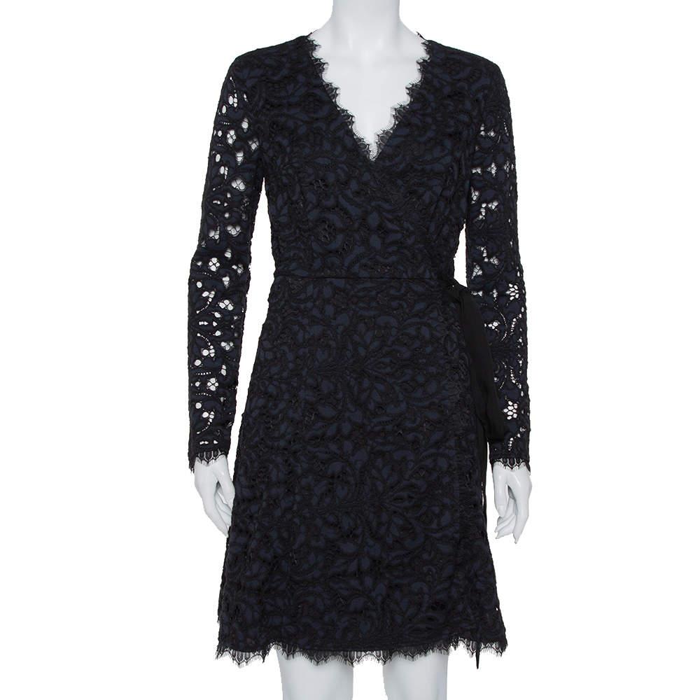 Diane Von Furstenberg Navy Blue Lace Shaelyn Wrap Dress M