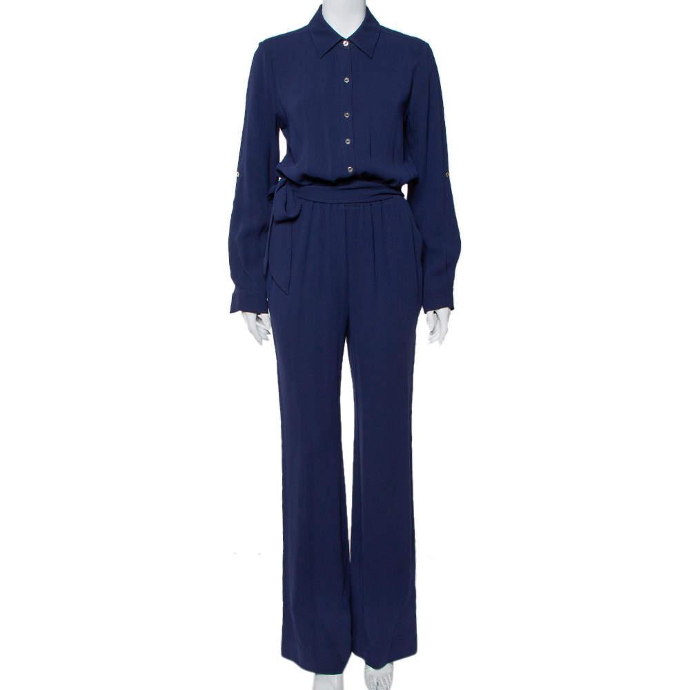 Diane Von Furstenberg Navy Blue Crepe Belted Lori Jumpsuit M