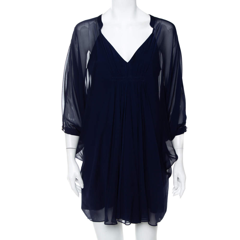 Diane Von Furstenberg Navy Blue Silk Fluerette Mini Dress S