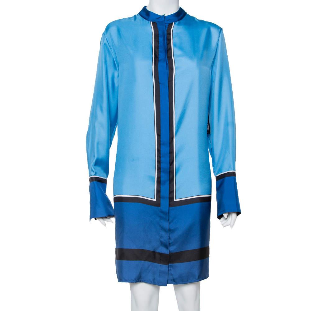 Diane Von Fustenberg Blue Silk Satin Oversized Shirt Dress M